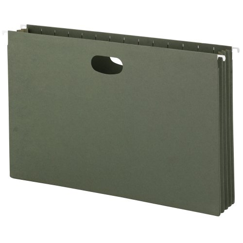 Smead Hanging File Pocket, 3-1/2 Inch Expansion, Legal Size, Standard Green, 10 Per Box -