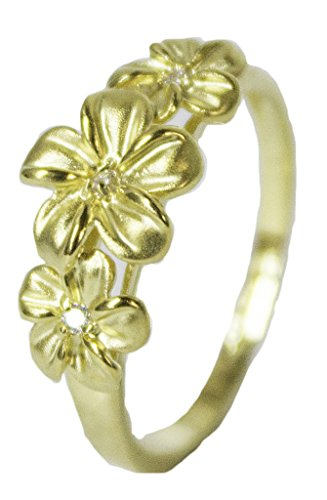 - Women's 18 Kt Gold Plated Dress Ring Triple Flower with CZ 060 (5)