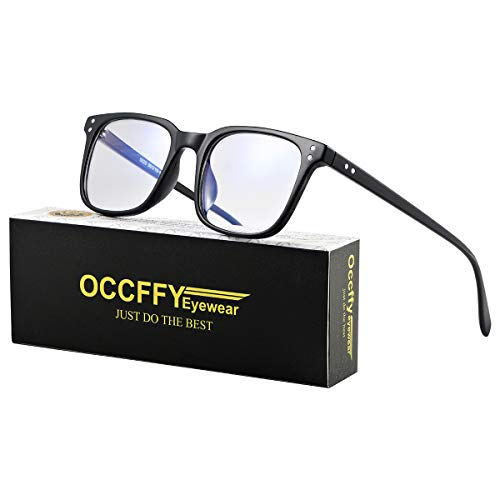 Occffy Blue Light Filter Computer Glasses for UV Blocking Anti Eyestrain Gaming Glasses Anti-Glare Protection for Men Women 5025 (Black)