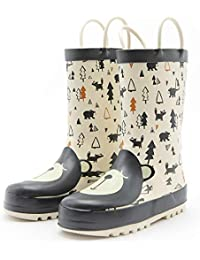 Kids Rain Boots Girls Boys Toddler Rainboots Rubber Rain Shoes Animal Printed,Easy-On Handles