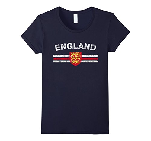 Womens British Flag Shirt - British Emblem & England Flag Shirt XL Navy