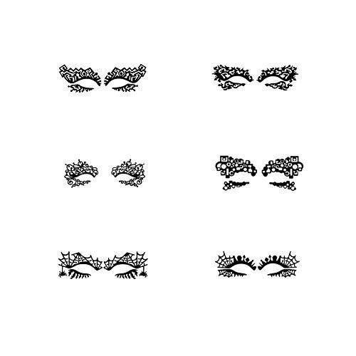 Makeup Lace Temporary Eye Tattoo Stickers, 6 Pairs Eyeshadow Eyeliner Sticker Mask Halloween Party (Style 1) ()
