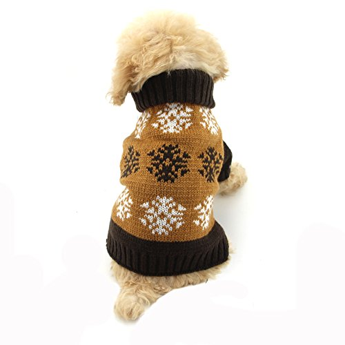 NACOCO Dog Sweater Pet Snowflake Sweaters Halloween Christmas Winter for Puppy Cat (L, Brown)