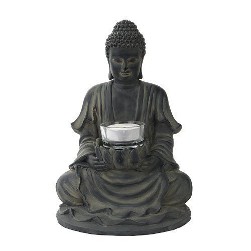 8.5 Inch Resin Meditating Buddha with Lotus Candle Holder Figurine
