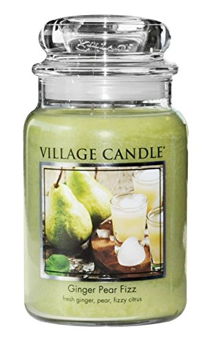 Pear Scented Glass (Village Candle Ginger Pear Fizz 26 oz Glass Jar Scented Candle, Large)