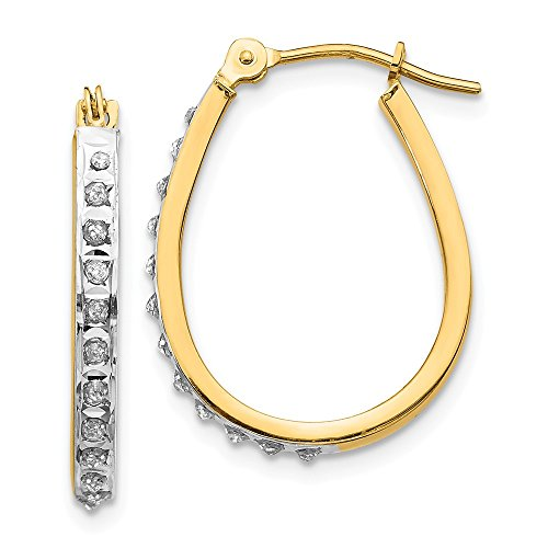 14k Yellow Gold Diamond Fascination Oval Hinged Hoop Earrings Ear Hoops Set Fine Jewelry Gifts For Women For ()