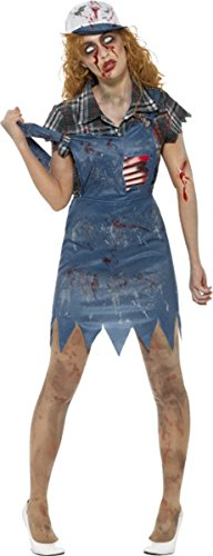 Zombie Hillbilly Costume, Female, With Dungaree Blue X-small Uk Dress 4-6 -