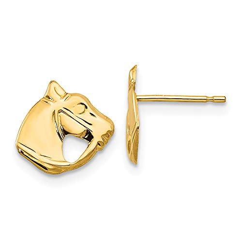 Solid 14k Yellow Gold Horse Head Stud Earrings with Silicone Safety Back, - Head Stud Horse