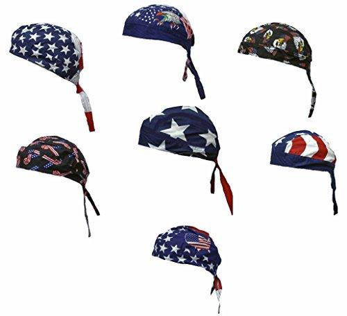 Buy Caps and Hats Patriotic American Flag Skull Cap Headwrap One Size Multicolor