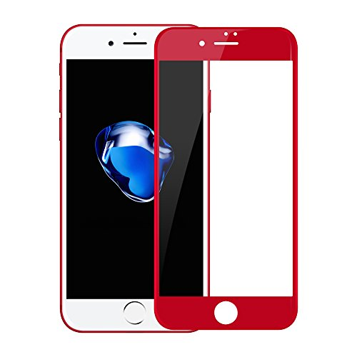 Betemp iPhone 8 Plus/iPhone 7 Plus 3D Full Coverage Tempered Glass, [PET Frame][Edge to Edge Crash Protection] Curved [Scratch Proof][Bubble Free] Screen Protector for Apple iPhone 8 Plus/7 Plus - Red