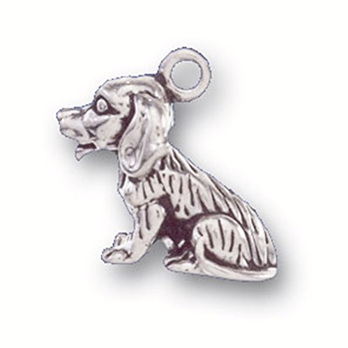 (925 Sterling Silver Simple Cute Well Behaved Beagle Dog Charm For)