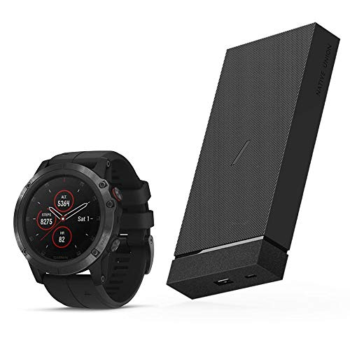 Garmin Fēnix 5X Plus, Ultimate GPS Smartwatch, Topo Maps, Pulse and Heart Rate Monitoring, Music and Pay, Black with Black Band + Jump+ 12,000mAh Wireless Power Bank with USB-A to USB-C Charging Cable