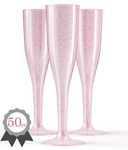 (50 Pink Plastic Champagne Flutes | Glitter Elegant Plastic Toasting Glasses | Luxurious Plastic Wedding Champagne Flutes | Plastic Champagne Flutes Bulk | Plastic Prosecco)
