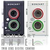 BONZART AMPEL ボンザート アンペル 二眼レフ風 二眼デジ ミニチュア写真 ジオラマ写真 レトロカメラ 女子カメ (ホワイト)