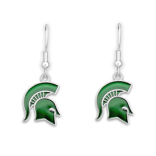 Silver Tone Fishhook Earrings with an Iridescent Michigan State Spartans Charm - Msu Sparty Costume