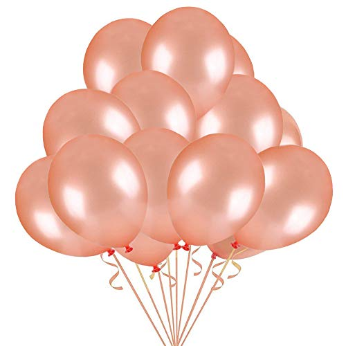 Jblcc 50pcs/12 Inch Rose Gold Party Balloons Elegant Latex Balloons for Birthday,Wedding and Holiday Party Decorations -