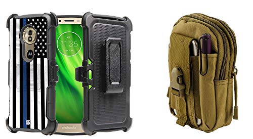 Beyond Cell Rugged Dual Layer Armor Phone Holster Combo Case (Thin Blue Line Flag) with Tactical Pouch (Khaki) and Atom Cloth for Moto G6 Play, G6 Forge, Moto E5 ()