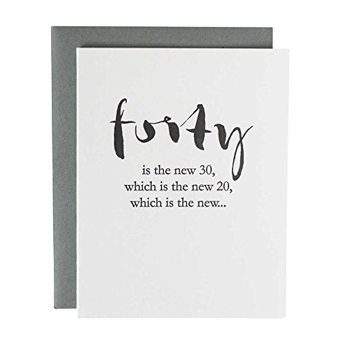 Funny Birthday Card Letterpress Forty Is The New 30