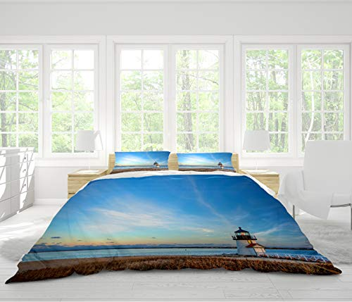- BEICIHOME 3 Pieces Bedding Set, Printing Single-Sided Pattern Art Polyester Coverlet Set-All Season,Brant Point Lighthouse Nantucket MA-Queen
