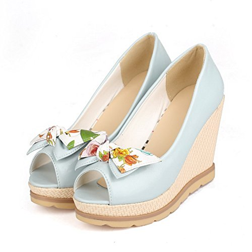 VogueZone009 Women's Peep Toe Pull-on PU Assorted Color High-Heels Sandals Blue 6JFV3w