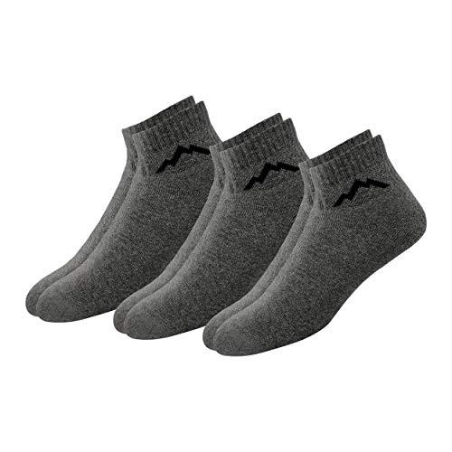 Ranger Sport Men's Heavy Duty Cotton Quarter Athletic Socks, Pack of 3 (Grey)