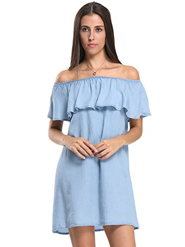 Choies Women's Blue Off Shoulder Ruffle Denim Shift Dress S Denim Shift