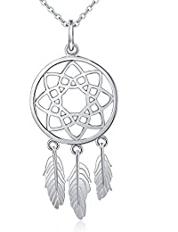 """<span class=""""a-offscreen"""">[Sponsored]</span>Inspirational Jewelry Sterling Silver Feather Dream Catcher Necklace for Women, Rolo Chain 18"""""""