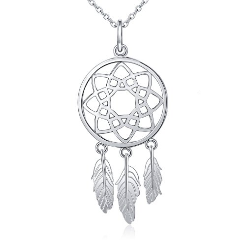 Inspirational Jewelry Sterling Silver Feather Dream Catcher Necklace for Women, Rolo Chain 18""