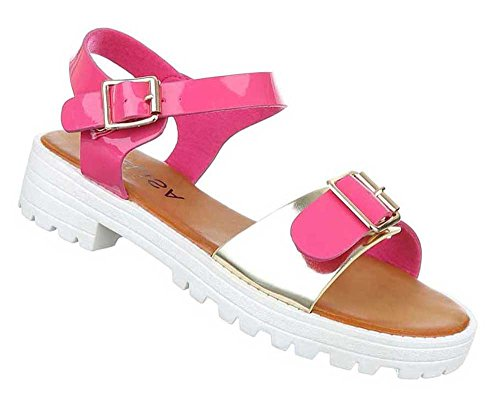 Damen Sandalen Schuhe Sandaletten Schwarz Gold Pink