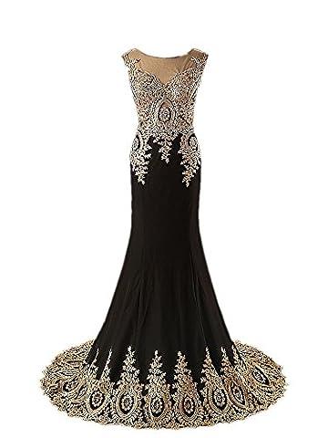 King's Love Women's Maxi Full Crystal Evening Dresses Sleeveless Mermaid Formal Dress Black US10 - Full Sweep Gown