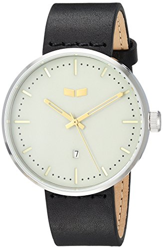 Vestal 'Roosevelt Italian' Quartz Stainless Steel and Leather Dress Watch, Color:Black (Model: RS42L10.BK)