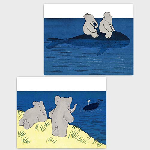 ((Set of 2) Babar the Elephant Prints (Baby Nautical Decor Boy Nursery Girls Room Art)
