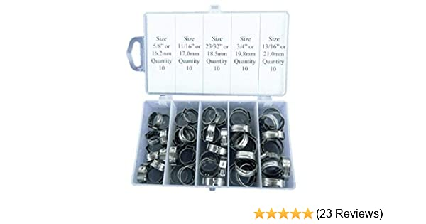 NOT Pex Clamp TJ Longda 50 Pieces Stainless Steel Single Ear Hose Clamps size 5//8 or 16.2mm