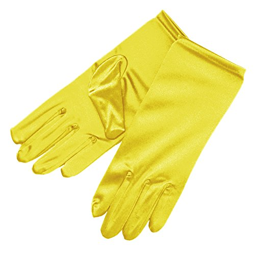 ZaZa Bridal Shiny Stretch Satin Dress Gloves Wrist Length 2BL-Lemon Yellow -