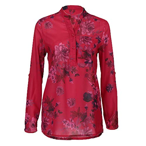 Tunic Tops for Leggings for Women Casual V Neck Cuffed Sleeves Floral Chiffon Blouse Top Loose Shirt Chaofanjiancai Red ()