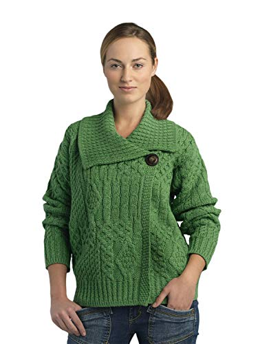100% Soft Irish Merino Wool One Button Aran Ladies Sweater, Green, Large