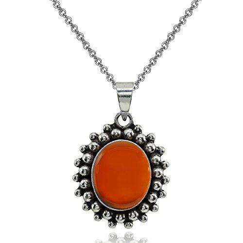 Sterling Silver Simulated Carnelian Oval Bezel-Set Oxidized Bali Bead Pendant Necklace