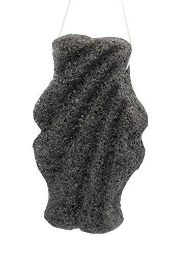 Feather Stone Konjac All Natural Fiber Facial Sponge, Oblong, Black, 4 Gram Oblong Stone