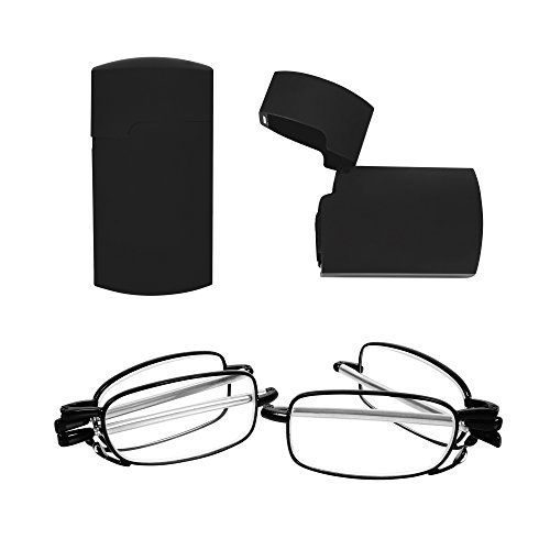 AOWIN 2 Pairs Fashion Foldable Reading Glasses Metal Frame Glass Presbyopic Eyeglasses for Men and Women (black, +2)