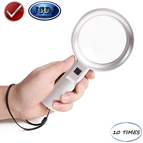 JGDJ Magnifier LED Lights with Lanyard 10 Times HD Reading for The Elderly