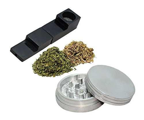 "Price comparison product image EDC Combo - Foldable Magnetic Pipe with 2.0"" 2 Layer Herb / Tobacco Grinder (Black Pipe)"