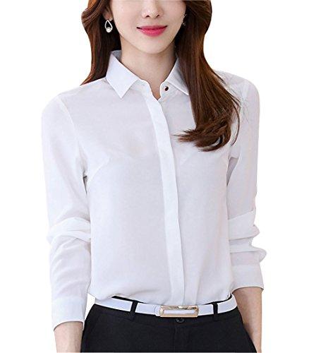 DPO Women's Button Down Work Shirt Long Sleeve Lapel Collar Blouse White (Lapel Collar Blouses)