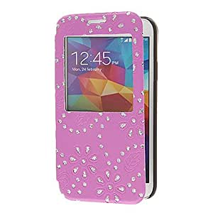 LIMME Skylight Style Bling Rhinestone Pattern PU Leather Full Body Case with Card Slots for Samsung Galaxy S5 I9600