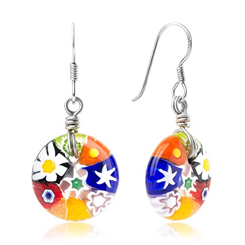 - 925 Sterling Silver Millefiori Murano Glass of Venice Multi-Colored Round Dangle Earrings 1.45""