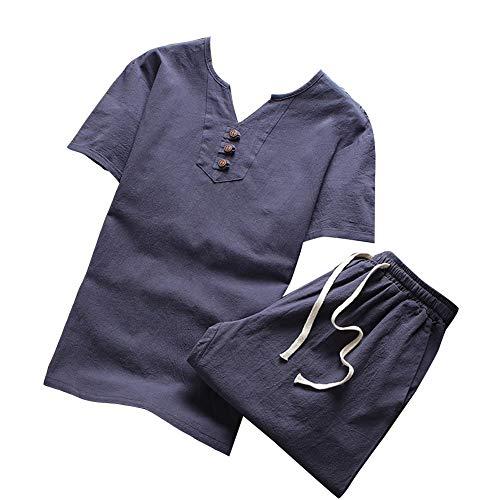Con Pantaloncini Casual Grigio T Blu In Da Estiva Bottone Maglietta Wenchuang V shirt Uomo Lino Scollo 8H7Rw