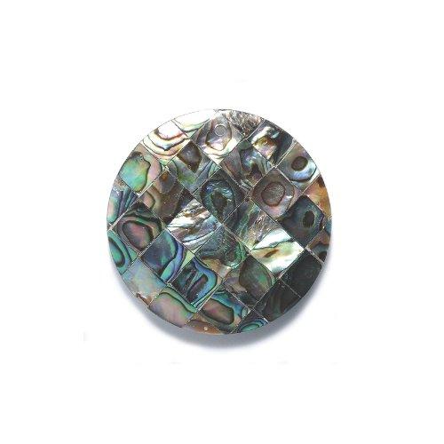 Iris Abalone (Shipwreck Beads Mosaic Abalone Disc Pendant, 39-mm)