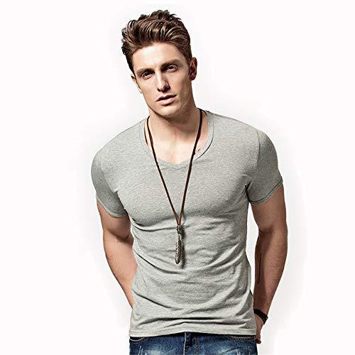 XUDIANG Men's Solid Color Short Sleeve V-Neck Henry Shirt Round Neck Slim Casual T-Shirt-(V-Gray XS)
