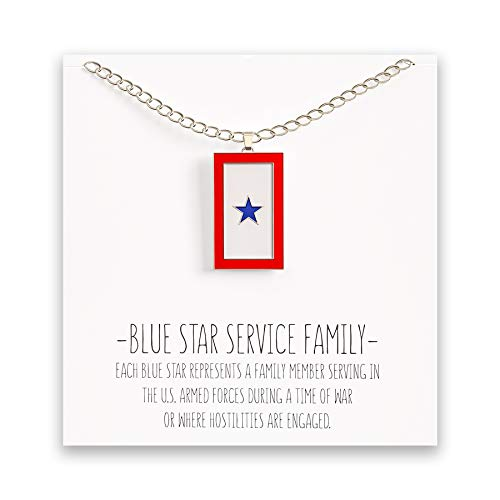 Mom Marine Pendant - Happy Kisses Blue Star Service Flag Necklace – Blue Star Mom Pendant– One, Two & Three Stars – Message Card (One Blue Star)