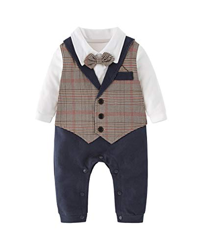 XM Nyan May's Baby Toddler Boys Gentleman Bowtie Faux Vest Romper Onesie by XM Nyan