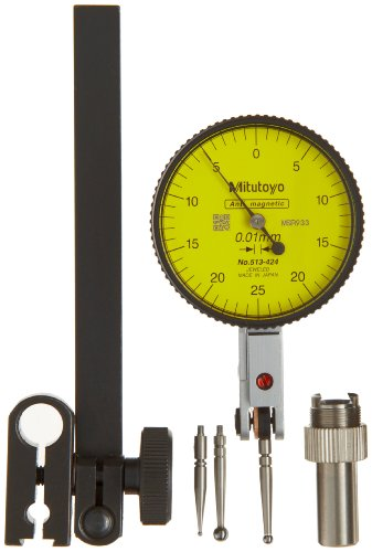 Dial Yellow Markers (Mitutoyo 513-424T Dial Test Indicator, Full Set, Horizontal Type, 4mm Stem Dia., Yellow Dial, 0-25-0 Reading, 40mm Dial Dia., 0-0.5mm Range, 0.01mm Graduation, +/-0.005mm Accuracy)